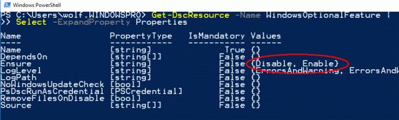 Eigenschaften der Ressource WindowsOptionalFeature
