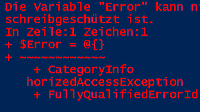 Fehlermeldung in PowerShell
