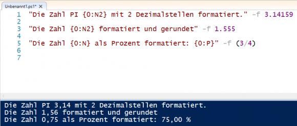 Ausgabe von Zahlen anpassen mit Hilfe von Format-Strings.