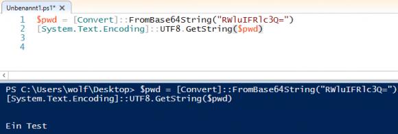 Umwandlung von Base64-kodierten Inhalten in einen String mit PowerShell.