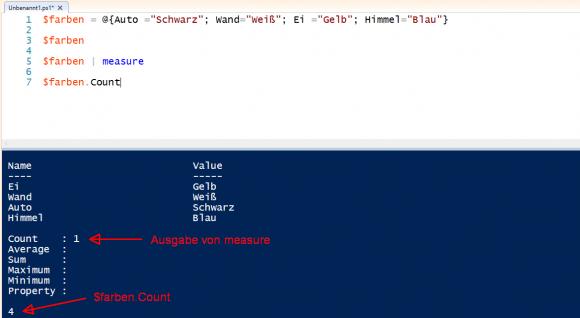 Über den Variablennamen gibt PowerShell den ganzen Hashtable als ein Objekt aus. Count enthält die Zahl der Elemente.