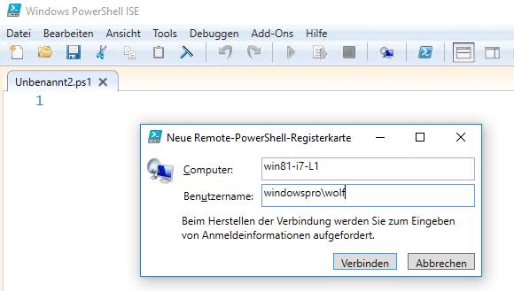Für die Remote-Sitzung in PowerShell_ISE anmelden.