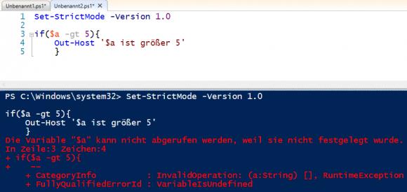 Der Strict Mode 1.0 verhindert die Verwendung von nicht deklarierten Variablen.