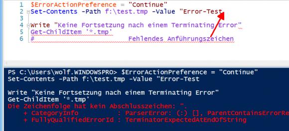 Ein Syntaxfehler führt zum sofortigen Abbruch eines Scripts.