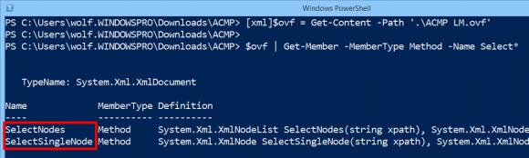 Get-Member zeigt die beiden Methoden von System.Xml.XMLDocument und System.Xml.XMLElement, die XPath-Ausdrücke akzeptieren.