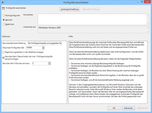 GPO-Optionen bei der Größenbeschränkung von Benutzerprofilen