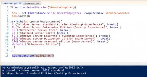 Auslesen der Eigenschaft OperatingSystemSKU aus der WMI-Klasse Win32_OperatingSystem mit PowerShell