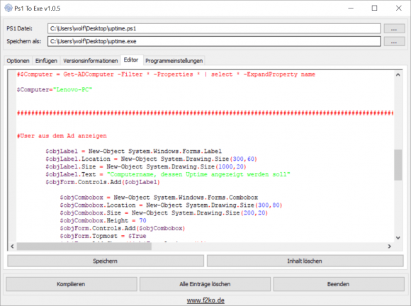 Der integrierte Editor unterstützt farbliche Syntaxhervorhebung für PowerShell