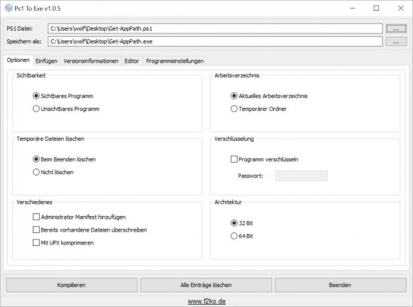 Ps1 to exe bietet eine Reihe von Optionen für das Kompilieren von Scripts.