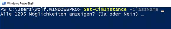 Bei einer sehr großen Zahl an möglichen Werten für einen Parameter fragt PSReadline nach, ob man sie anzeigen möchte.