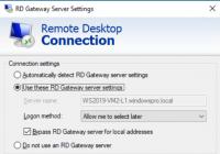 Gateway-Einstellungen im RDP-Client