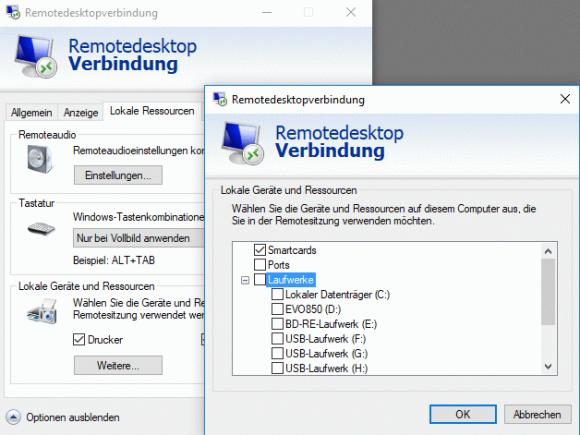 Auswahl der lokalen Laufwerke, die auf den Remote-PC umgeleitet werden sollen.