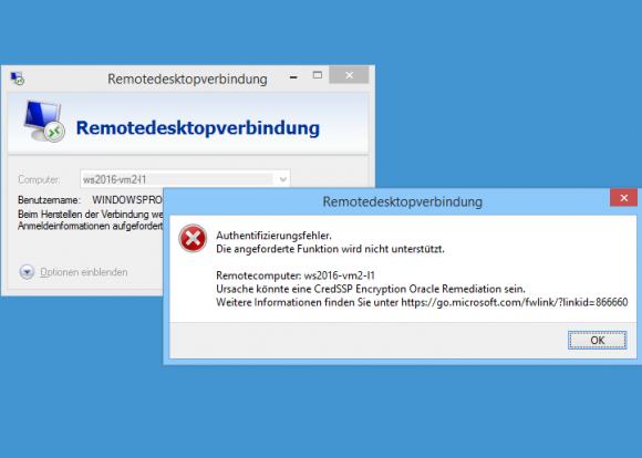 Wenn ein Server den CredSSP-Patch nicht enthält, dann verweigern aktualisierte Clients die RDP-Verbindung.