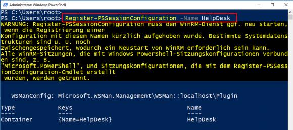 Neue Sitzungskonfiguration erzeugen mit Register-PSSessionConfiguration