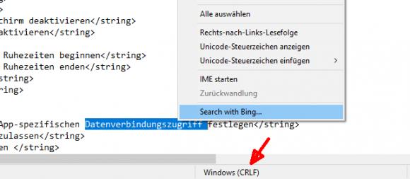 Notepad behält die Art der Zeilenumbrüche nun bei und kann Web-Suchen in Bing starten.