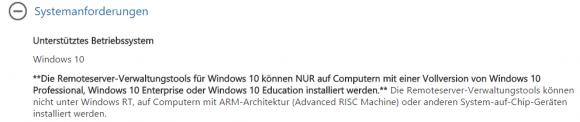 Die Download-Seite für die RSAT gibt keinen Hinweis auf die benötigte Version von Windows 10.