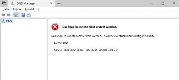 Der DNS-Manager funktioniert nach dem Hinzufügen als optionales Feature nicht.