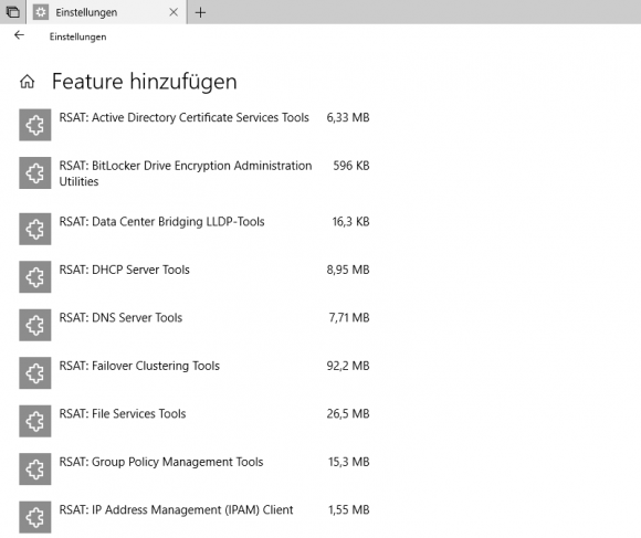 Die RSAT als optionale Features in der App Einstellungen