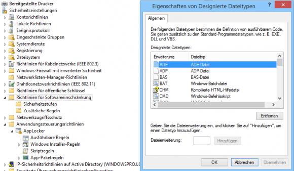 Richtlinien für die Softwareeinschränkung gelten immer für alle designierten Dateitypen