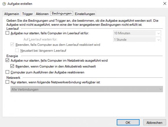 Die weiteren Optionen für eine geplante Aufgabe verteilen sich beim grafischen Tool auf 2 Dialoge.