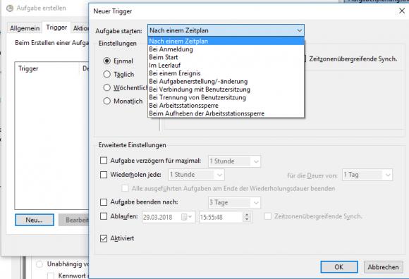 Die Parameter von New-ScheduledTaskTrigger bilden die Einstellungen aus der GUI ab.