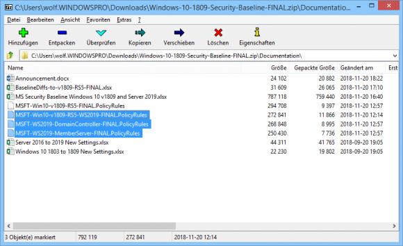 PolicyRules-Dateien für Windows 10, Server 2019 Member und DC für den Import in den Policy Analyzer.