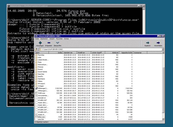 Das kostenlose 7-zip lässt sich auch in der GUI-Version unter Server Core nutzen, zusätzlich bietet es eine Kommandozeilenversion.