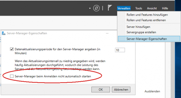 Automatischen Start des Server Managers über das Menü Verwalten deaktivieren.