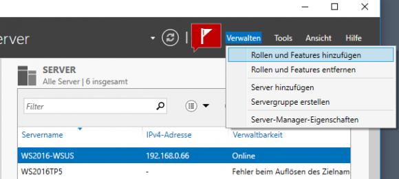 Wizard für das Hinzufügen von Rollen und Features im Server Manager starten.
