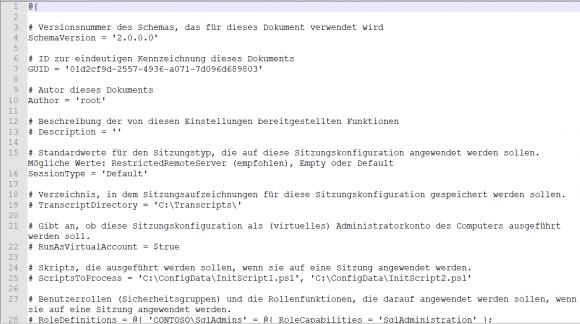 Standardmäßig von New-PSSessionConfigurationFile erstellte Datei