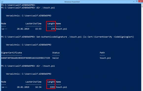 Script signieren mit dem Cmdlet Set-AuthenticodeSignature