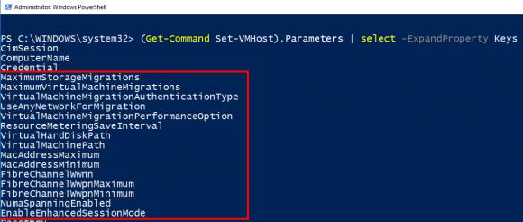 Die Parameter von Set-VMHost konfigurieren jeweils eine Einstellung.