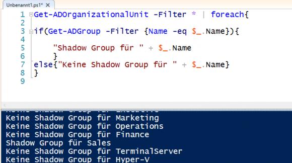 Mit PowerShell überprüfen, für welche OUs gleichnamige Gruppen existieren.