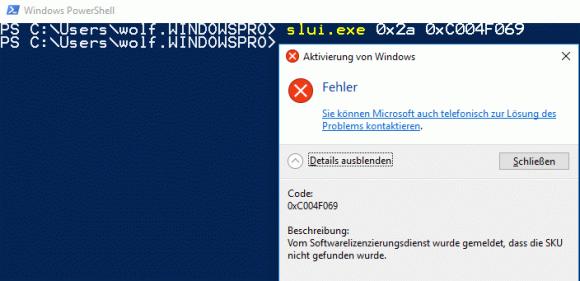 Die Schlüssel für Windows Server 2016 lassen sich nicht unter Server 1709 einsetzen.