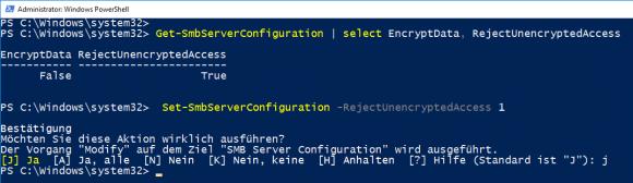 Über den Parameter RejectUnencryptedAccess kann Set-SmbServerConfiguration die unverschlüsselte Kommunikation zulassen.