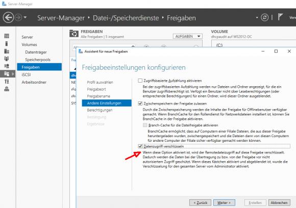 Beim Erstellen einer neuen Freigabe im Server Manager kann man gleich die SMB-Verschlüsselung aktivieren.
