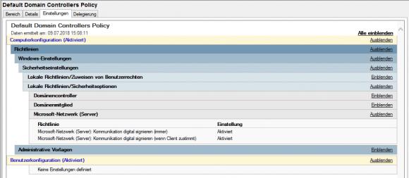 Die Default Domain Controller Policy aktiviert die SMB-Signierung für DCs.