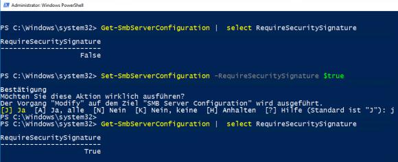 Einstellungen für die SMB-Signierung über PowerShell konfigurieren.