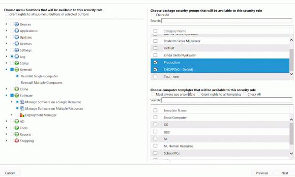 Für jede Rolle lässt genau festlegen, welche Funktionen von SoftwareCentral sie nutzen darf.