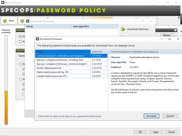 SPP can integrate various dictionaries against which new passwords are checked.