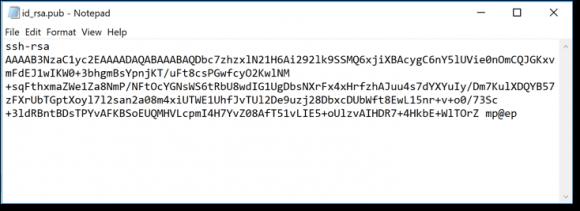 Public Key für SSH (Inhalt der Datei id_rsa.pub)