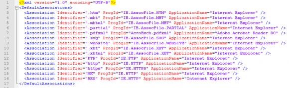 Einstellungen für den IE als Standard-Browser im XML-Format.