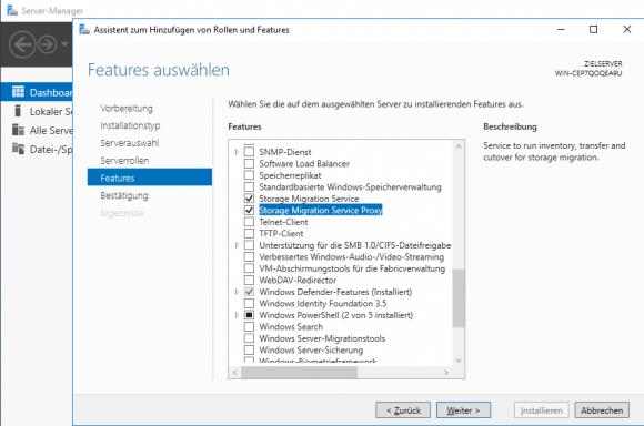 Die Storage Migration Services lassen sich als Feature über den Server Manager installieren.