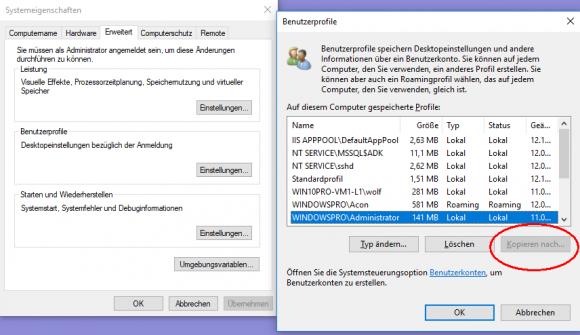 Normale Benutzerprofile lassen sich nicht kopieren, der Button ist hier ausgegraut.