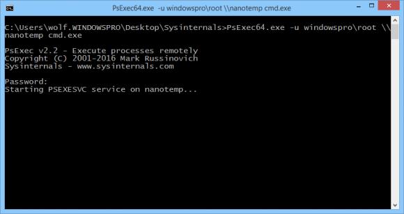Neben PowerShell-Remoting und WinRS kann auch mit PsExec64 eine Sitzung auf einem Nano Server eröffnet werden.