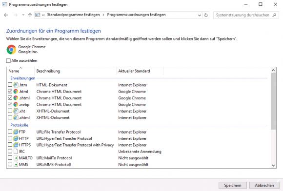 Dateiendungen .html und .htm von Edge auf Chrome übertragen