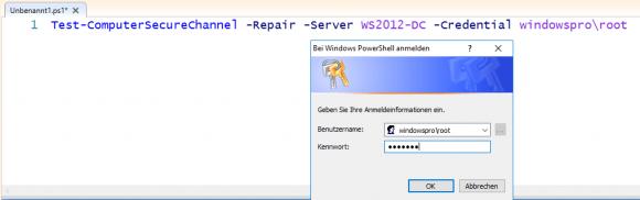 Zurücksetzen des Passworts für das Computer-Konto mit Test-ComputerSecureChannel