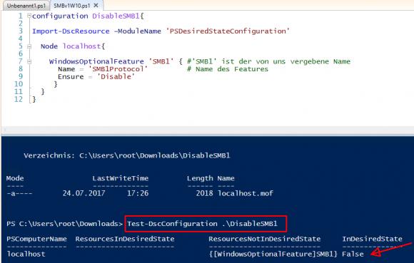 Mit Test-DscConfiguration überprüfen, ob auf dem lokalen Rechner SMB v1 installiert ist.