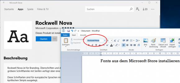 Fonts über den Microsoft Store installieren ab Windows 10 1803