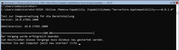 Deinstallation der Server Core App Compatibility über DISM